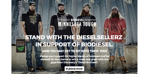 """By pledging your support for biodiesel, you will be entered for a chance to win a meet-and-greet with the DieselSellerz, or stars from Discovery's """"Diesel Brothers."""" (Screenshot from MNsoybean.org)"""