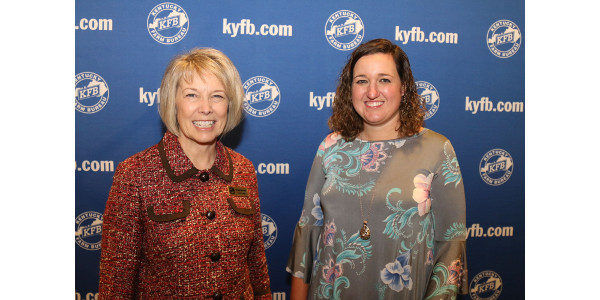 Rebecca Baker (Right) received the Women's Educational Grant, which was presented by Vickie Bryant (Left). (Courtesy of Kentucky Farm Bureau)