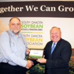 Soybean growers from across the state were recognized for winning yields during the 2017 South Dakota Soybean Yield Contest awards ceremony held December 6 during the South Dakota Soybean Association recognition banquet in Sioux Falls. Hutchinson County soybean grower, Tim Hofer, won the 2017 Master's Yield Contest with 98.63 bushels-per-acre. He grew Legend: LS29R562N. (Courtesy of SD Soybean)