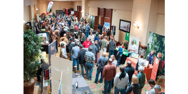 The trade show at the Great Lakes Hop and Barley Conference attracts dozens of vendors each year and the conference schedule facilitates ample time for networking. (Courtesy of MSU Extension)