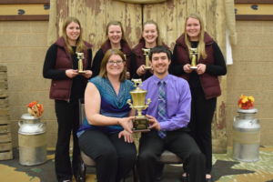 1st place Senior Dairy Bowl – Polk County  Front – coaches Patti Hurtgen and Cody Getschel (missing coach Gwen Dado)  Back – Kristi Getschel, Hailey Clausen, Mikayla Peper and Marie Haase
