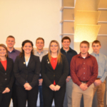 MSU scholarship students were honored at the MMPA Leaders' Conference on Nov. 21. Back row, from left: Gerrit Baker, Casey Tebos, Adam Wiles and Nolan Wieber. Front row, from left: Hope McAlvey, Morgan Luoma, Cameron Cook and Jacob Arens. (Michigan Milk Producers Association)