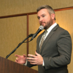 Agriculture Commissioner Ryan Quarles outlines the new Kentucky-grown Fruit and Vegetable Incentive Program (K-VIP) during the Fruit and Vegetable Conference on Monday in Lexington. (Kentucky Department of Agriculture photo)