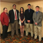 NCTA Aggie Livestock Judging team at Denver with Coach Doug Smith are, Nathan Lashley, Curtis; Katharine Schudel, North Loup; Dean Fleer, Pierce; and Wyatt Duskie, Jewel, Kansas. Not available for the photo was Joe Calvo, Bassett. (NCTA Photo)