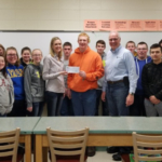 Waupun FFA Chapter received a $300 check from Alsum Farms & Produce to benefit their Chapter's Program. Wendy Alsum-Dykstra and Larry Alsum of Alsum Farms & Produce presented the check to the Chapter's Vice President Robert Woock and the Dairy Science class.(Courtesy of Alsum Farms & Produce)