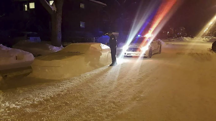 Cops pranked with a car made of snow