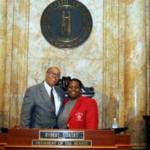 Dr. Uneeda Bryant, a veterinary pathologist from the University of Kentucky Veterinary Diagnostic Laboratory, spends a lot of time teaching school children about the lab's role in safeguarding animal health in Kentucky and about career options in veterinary medicine and other science-related fields. For her efforts, Sen. Reginald Thomas recently recognized her on the floor of the Kentucky Senate. (PHOTO: LRC Public Information Office)
