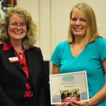 Madeline Schultz, Women in Ag program manager, left, presents a certificate of accomplishment to Nicole Jonas, Red Granite Farm. Jonas put her business skills to work after participating in an ISU Extension and Outreach Women in Ag class. (Courtesy of Iowa State University Extension and Outreach)