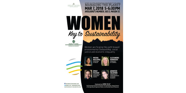 TheSchool of Global Environmental Sustainability(SoGES) is hosting a March 7 panel discussionon the powerful contribution womenare making towardssustainable development. (Courtesy of CSU)