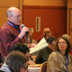 Wisconsin Farmers Union District 8 Director Rick Adamski shares a point of view during the policy discussion at the WFU State Convention Feb. 2-4 in Wisconsin Dells. (Courtesy of Wisconsin Farmers Union)