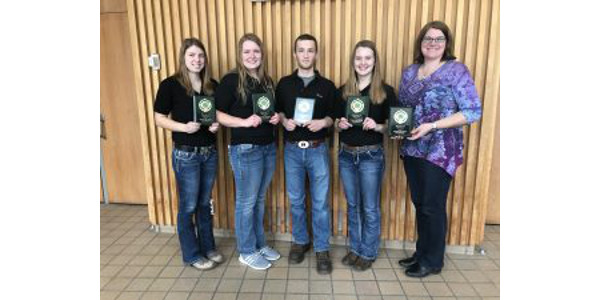 Polk County will represent Wisconsin at the national competition later this fall in Louisville, Kentucky. Team members included Kristi Getschel, Marie Haase, Tayler Elwood, and Mikayla Peper. This team was coached by Gwen Dado and Patti Hurtgen. (Courtesy of UW-Extension)