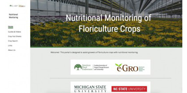 Figure 1. The collaborative group of greenhouse and floriculture specialists and educators, e-GRO, launched a Nutritional Monitoring of Floriculture Crops website. (Courtesy of MSU Extension)