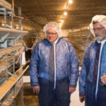 Dr. Doug Smith, left, and Dean Ron Rosati, learn about broilers in a Mississippi State poultry barn. Professor Mary Beck leads the tour highlighting for the new NCTA-MSU poultry partnership. (MSU Photo)