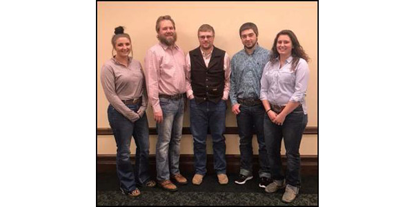 NCTA representatives attending the 2018 College Conference on Cooperatives in Minneapolis are, from left: Taylor Hovie, Grand Island; Jeremy Sievers, NCTA agribusiness professor; Riley Abbott and Nate Letcher, both of Hay Springs, and Erica Mowery of Middleburg, Pennsylvania. (NCTA courtesy photo)