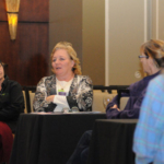 "Sheila Govert (center) of Cunningham, Kansas participated in a breakout session at the 2018 ""Women Managing the Farm"" conference in Manhattan recently. (Courtesy of K-State Research and Extension)"