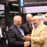 NCGA President Kevin Skunes (left) talks RFS with Secretary of Ag Sonny Perdue (right) at the Commodity Classic Trade Show in Anaheim, California. (Photo Credit: National Corn Growers Association)