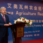 Ambassador Terry Branstad speaks during an all-Iowa ag reception held last July in Beijing, China. A delegation of farmers, directors and staff from the Iowa Soybean Association will be visiting with industry representatives and government officials during a trade mission next week. The trip will also include a meeting with Branstad at the U.S. Embassy. (Photo by Joseph L. Murphy, Iowa Soybean Association)