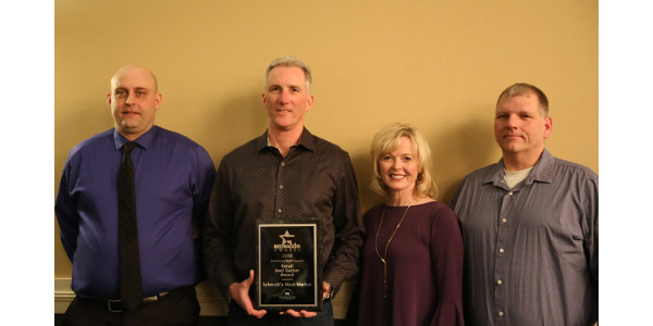 Brian Schatz (Production Manager), Ryan Schmidt and Lynnita Schmidt (Owners) and Mark Gudmundson (Retail Manager). (Courtesy of Minnesota Beef Council)