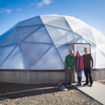 Aquaponic Innovation Dome educators are (l to r) Charlie Schultz, Sally High and Eric Highfield. (Courtesy of Geothermal Greenhouse Partnership Inc)