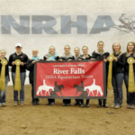 Members of the UW-River Falls Western Show Team recently competed in semi-finals (left to right): Coach Janie Huot, Samantha Abrahamson, Kendyl Bennett, Autumn Kappers (co-captain), Jennifer Lorenz, Rachel Shamro, Kaycee Hatch, Erica Kolstad, Jessica Oldroyd, Sydni Loose, Jackie Bucher-Thayer, and Danielle Paulson (co-captain). (Courtesy of UW-River Falls)