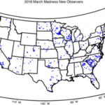 A map of new CoCoRaHS observers recruited since March 1, 2018. (Courtesy of CSU)