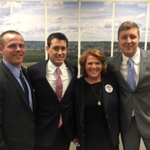 Leadership Institute attendees Casey Byrum, Caleb Folson and Thomas Shephard met with North Dakota Rep. Heidi Heitkamp. (Courtesy of Northern Plains Potato Growers Association)