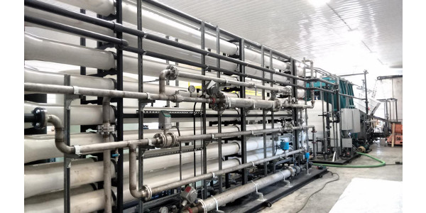 Part of a reverse osmosis system on a dairy farm. This treatment technology passes manure slurry through a series of membranes to purify and recycle water. (Credit: Diana Aga)