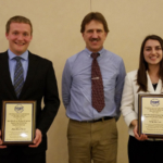 Two University of Wisconsin-River Falls students were recently honored by the Wisconsin chapter of the American Society of Agricultural and Biological Engineers: left to right: Jon Kusz, UWRF Professor of Agricultural Engineering Joseph Shakal, and Virginia Lee. (Courtesy of UW-River Falls)