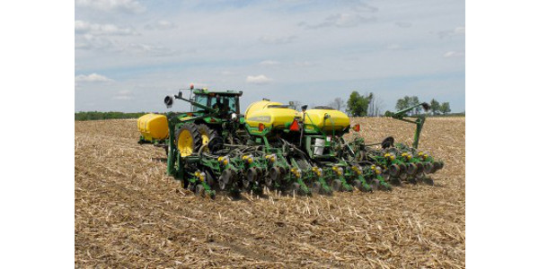 Planting no-till soybeans in Michigan. (Image courtesy of Mike Staton, MSU Extension)