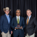 Nolan Stone, Colorado Livestock Association Immediate Past President, Dean Ajay Menon, Colorado State University College of Agricultural Sciences, and Bill Hammerich, Chief Executive Officer, Colorado Livestock Association. (Courtesy of Colorado Livestock Association)