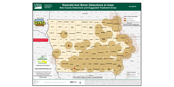 EAB has now been detected in 57 Iowa counties since first being found in Iowa in 2010. (Courtesy of Iowa Department of Agriculture)