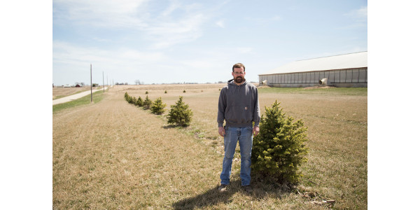 Taylor Wildermuth, Henry County Pork Producers President and IPPA member, stands in front of his barn where he planted a tree buffer with help from the first round of IPPA tree buffer cost-share program. (Courtesy of IPPA)