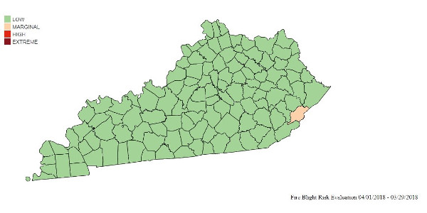 Figure 1: Fire blight risk for Kentucky counties as of April 1, 2018. (Courtesy of University of Kentucky Extension)