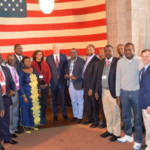 Governor Ricketts with members of the trade delegation from Kenya, President of the GIAEDC Dave Taylor, Nebraska Ag Director Steve Wellman, and Nebraska Economic Development Director Dave Rippe. (Courtesy of Office of Governor Pete Ricketts)