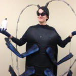 """It's might be hard to miss me in the costume, especially when the antenna are as tall as I am, but the bug itself can be much sneakier!"" Says Nor Serocki, Coordinator of the SWxSW Corner CISMA. (Courtesy of Van Buren Conservation District)"