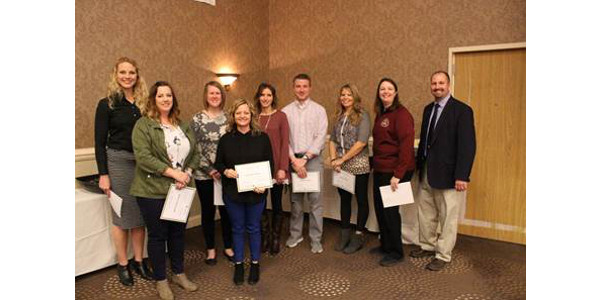 2018 John Maitland Grant Recipients at the 2018 McLean County Chamber of Commerce Agriculture Awareness Breakfast in Bloomington, IL. (University of Illinois Extension)