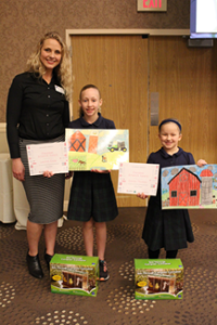 2018 Agriculture Awareness Placemat Contest Winners at the 2018 McLean County Chamber of Commerce Agriculture Awareness Breakfast in Bloomington, IL. (University of Illinois Extension)
