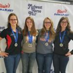 UW-River Falls Horse Judging Team members (left to right): Johanna Etlicher, Vicki Payne, Becky Lyons, and Kayla Oelhafen. (Courtesy of UW-River Falls)