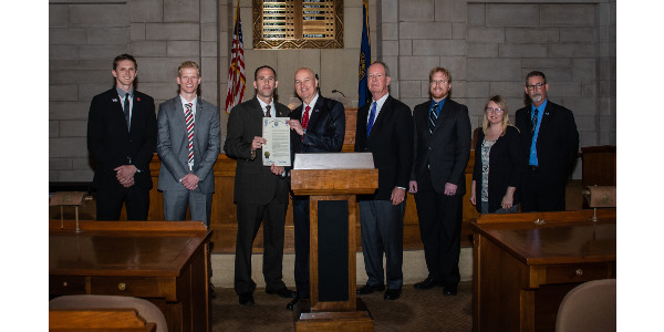 During an official proclamation ceremony on May 7, 2018, Nebraska Gov. Pete Ricketts proclaimed the month of May as Renewable Fuels Month. (Courtesy of Nebraska Corn Board, Nebraska Ethanol Board and Nebraska Soybean Board)