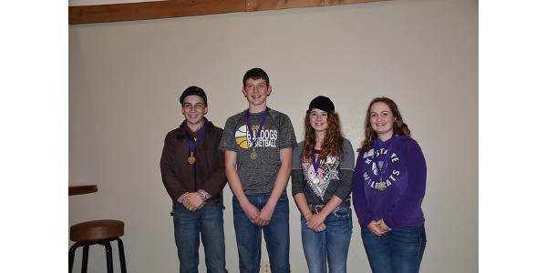 A team from Madison, Kan. took first place honors in the 2018 Kansas Wildlife Habitat Education contest held recently. Pictured left to right are Colton Ballard, Casey Helm, Josie Reed and Marlea Harlan. (Courtesy of K-State Research and Extension)