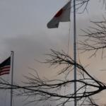 japanese flag, us flag