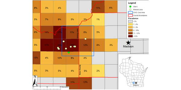 Locations of sampled mineral licks and prevalence of chronic wasting disease (CWD) in hunter-harvested white-tailed deer from 2010–2013 in south-central Wisconsin, USA. Squares are townships of 9.66 km per side. Inset shows state of Wisconsin, USA. Site 6 denotes the mineral lick with CWD-positive fecal samples.CREDIT: PLOS ONE