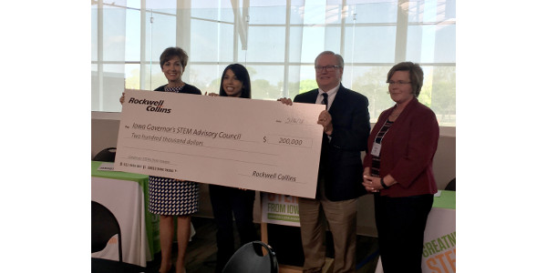 Rockwell Collins presented a check for $200,000 at a recent STEM Council meeting to support the state's STEM initiative for three years. (Courtesy of Governor's STEM Advisory Council)