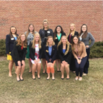Back row left to right: Ciera Ballmer (President), Brooke Trustem (Secretary), Sydney Brooks (Communications Coordinator), Haven Olson (Activities Coordinator), Jessica Wendt (Vice President), Shelby Brendler (Membership).Front row left to right: Alexis Schultz (Sentinel), Emily Franke (Treasurer), Amanda Gimenez (Sunshine Coordinator), Brooke Moore (Fundraising Coordinator), Nicole Schoenberger (Service Coordinator). *Not pictured: Danielle Warmka (Alumni Coordinator), Stephanie Thiel (House Manager), Bailey Frisch (House Steward), Julia Oelke (House Assistant). (Courtesy of Association of Women in Agriculture)