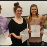 NCTA students who will serve as officers and representatives in 2018-2019 of the Phi Theta Kappa academic honorary include, from left, Peyton McCord, vice president; Dorothy Fulton, president; Baleigh Miller, Student Senate, and Kendra Marxsen, historian. Not pictured are Leighlynn Obermiller, secretary, and Shayla Woracek, student senate. All six were named to the NCTA Dean's List or Honor Roll this spring. (Crawford/NCTA photo)