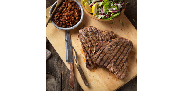 Grilled t-bone steaks with BBQ rub. (Courtesy of Iowa Beef Industry Council)