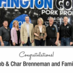 Rob and Char Brenneman and family were honored with the Wergin Good Farm Neighbor Award on Friday, May 4, 2018, at their farm in Washington, Iowa. (Courtesy of Coalition to Support Iowa's Farmers)