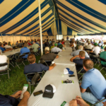OGRAIN field day participants learn about organic grain production. (Photo by Anders Gurda)