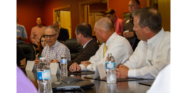 EPA Administrator Scott Pruitt (far left) speaks with a full conference room of ethanol stakeholders on Tuesday, June 12, 2018. (Courtesy of Renew Kansas)