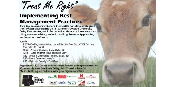 The tour will be on Friday, August 3. Registration and bus loading will be 9:30 a.m. at Friendly's Fuel Stop, 47159 Hwy 114, Baltic SD, I29 Exit 94 with the bus departing for the first farm at 9:45 a.m. The bus will return to Friendly's at 4:15 p.m.